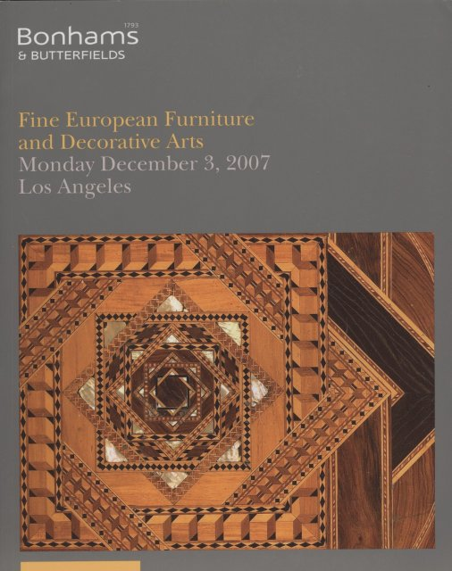 Bonhams Fine European Furniture And Decorative Arts Los