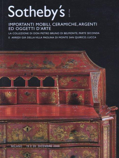Sotheby 39 s importanti mobili ceramiche argenti ed oggetti for Mobili villa milano