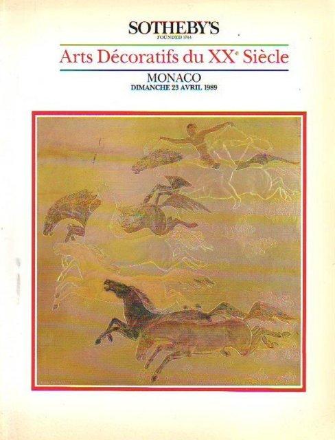 sotheby 39 s arts decoratifs du xxe siecle monaco 4 23 89 auction catalogs home of the catalog kid. Black Bedroom Furniture Sets. Home Design Ideas