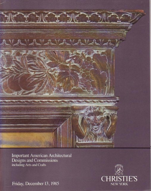 Christie 39 s important american architectural designs and for Arts and crafts new york