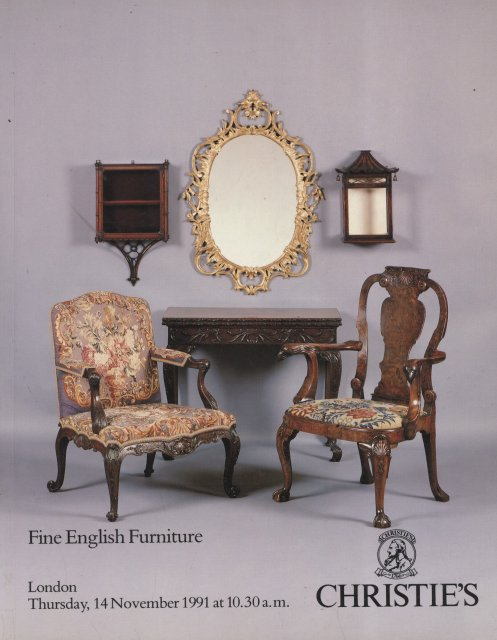 Christie 39 s fine english furniture london 11 14 91 sale for Furniture auctions london