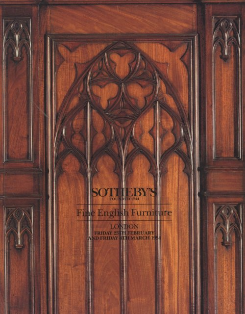 Sotheby 39 s fine english furniture london 2 25 94 auction for Furniture auctions london