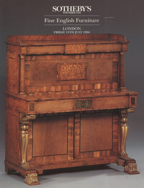 Sotheby 39 s fine english furniture london 7 15 94 auction for Furniture auctions london