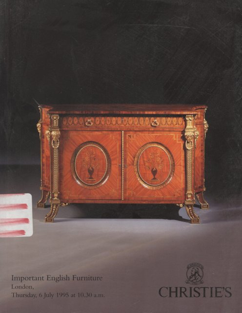 Christie 39 s important english furniture london 7 6 95 sale for Furniture auctions london