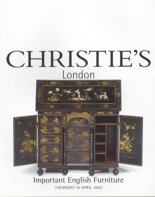 Christie 39 s important english furniture london 4 10 03 sale for Furniture auctions london
