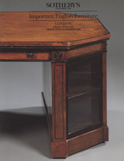 Sotheby 39 s important english furniture london 11 20 92 for Furniture auctions london