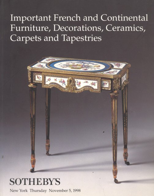 Sotheby s Important French and Continental Furniture New