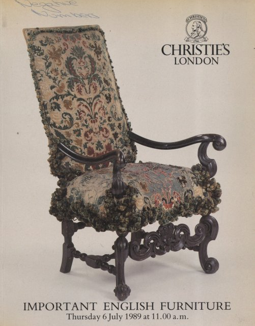 Christie 39 s important english furniture london 7 6 89 sale for Furniture auctions london