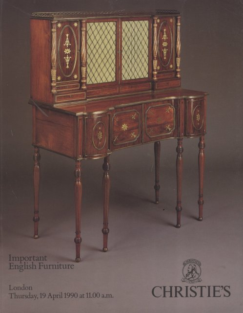 Christie 39 s important english furniture london 4 19 90 sale for Furniture auctions london