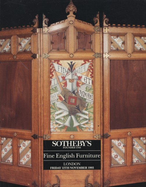 Sotheby 39 s fine english furniture london 11 12 93 auction for Furniture auctions london