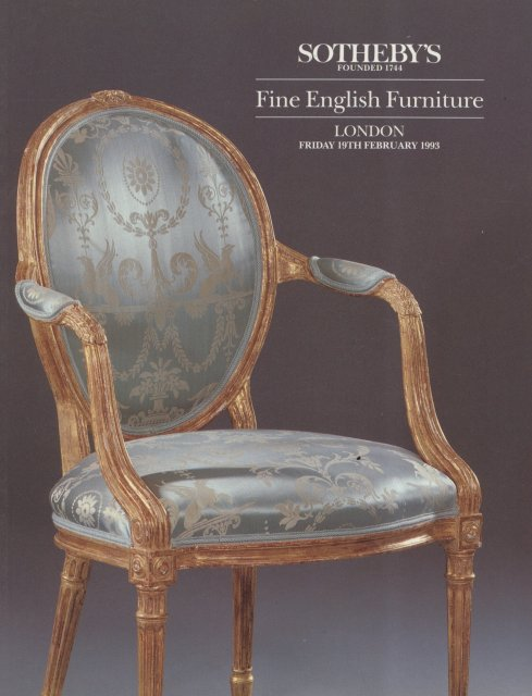 Sotheby 39 s fine english furniture london 2 19 93 auction for Furniture auctions london