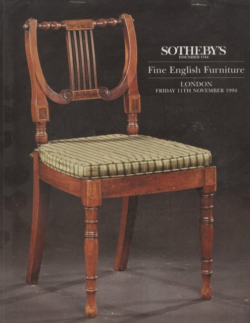 Sotheby 39 s fine english furniture london 11 11 94 auction for Furniture auctions london