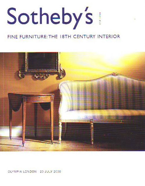 Sotheby 39 s fine furniture the 18th century interior for Furniture auctions london