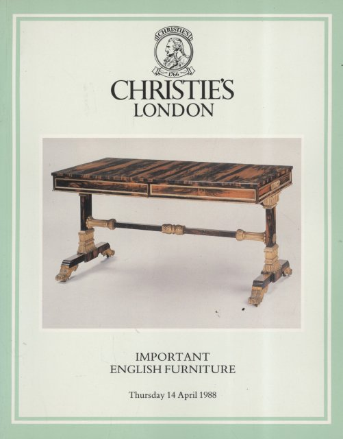 Christie 39 s important english furniture london 4 14 88 sale for Furniture auctions london