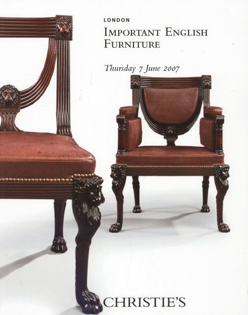 So Christie 39 S Important English Furniture London 6 7 07 Sale 7400 Auction Catalogs Home Of