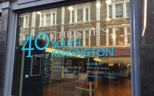 CSK-40TH-Christies-South-Kensington-40th-Window-Vinyl-Display-Install-thumb